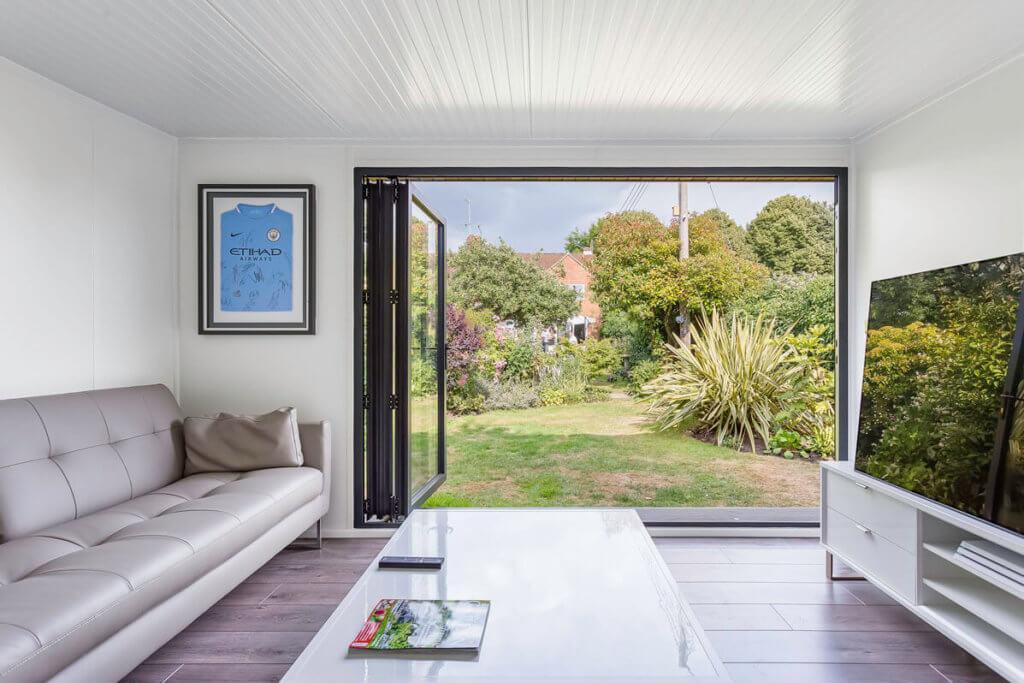 contemporary garden office interior