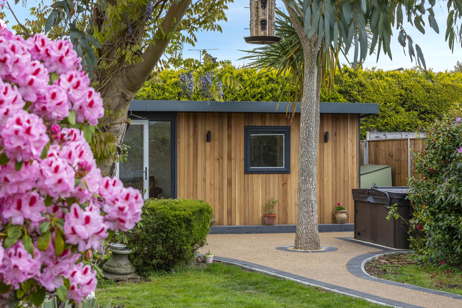 garden office with landscaping