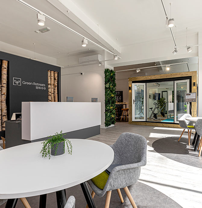 reception area and inspiration garden room at Lodon showroom