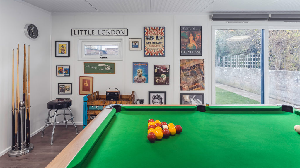 Pool room with posters on the wall