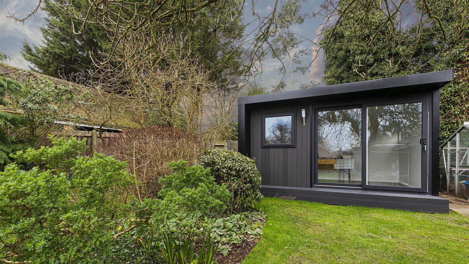 small black garden office
