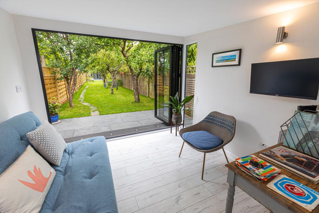 stylish garden office with bi-fold doors