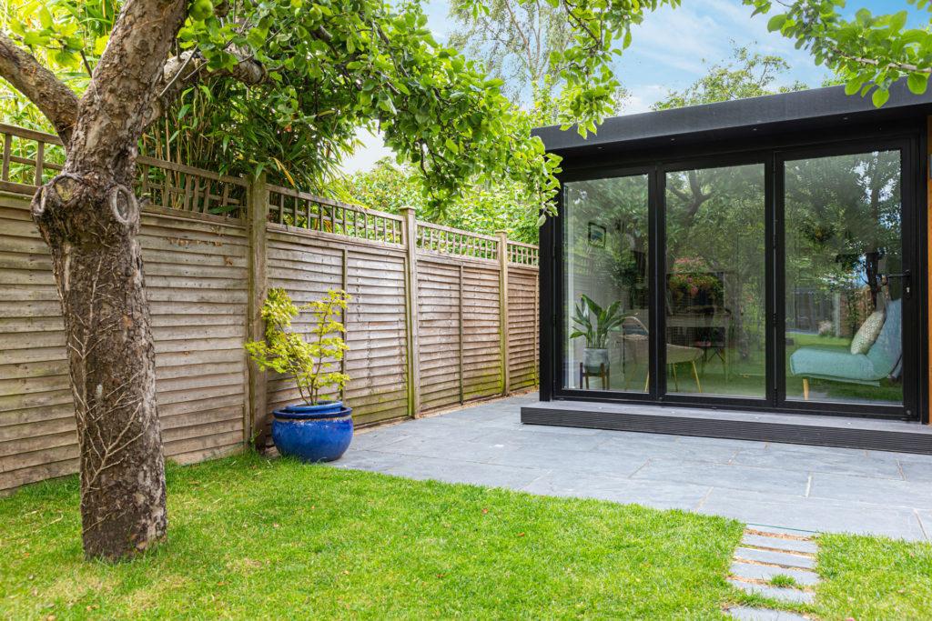 modern garden office with bi-fold doors