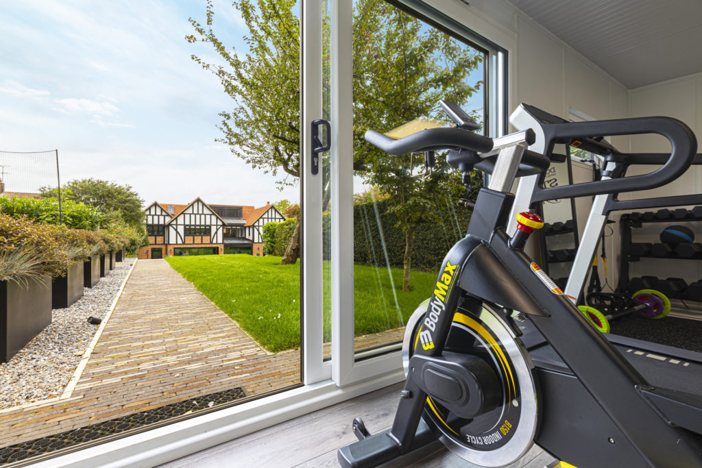 bright and airy garden gym