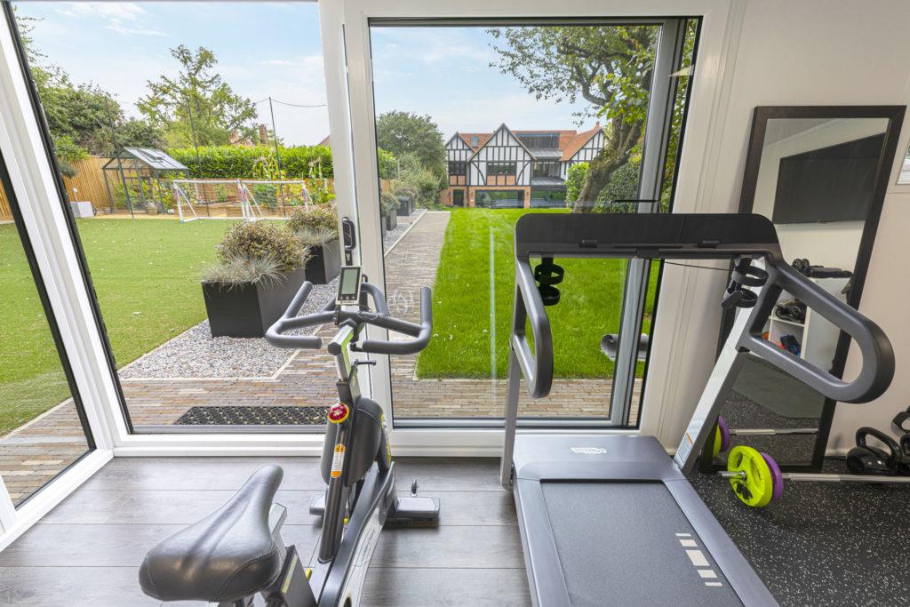 gym equipment looking into garden