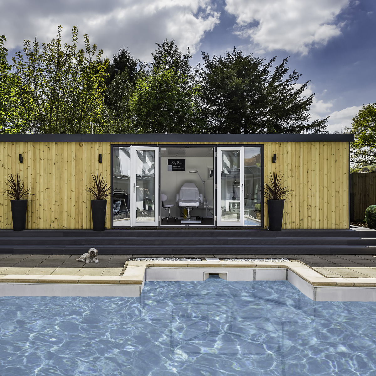 home salon with pool