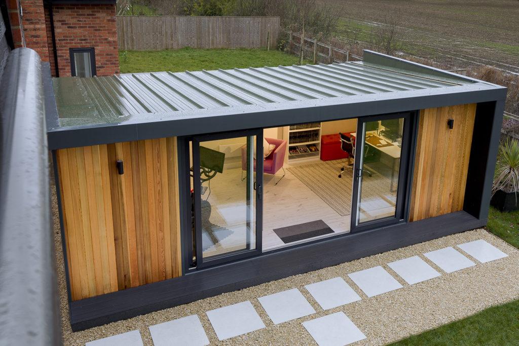 sloping steel roof