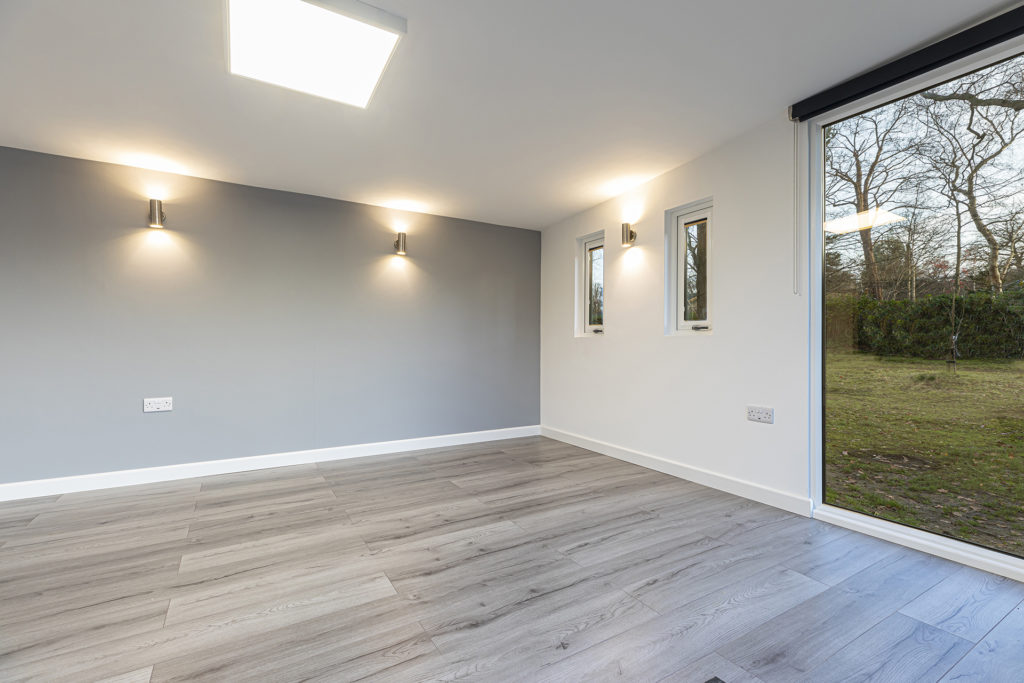 plasted and painted interior walls